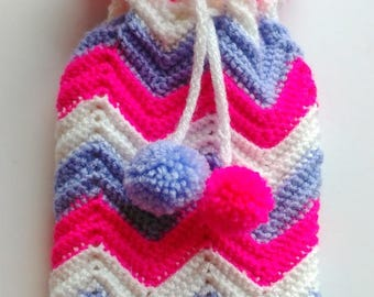 Hot Water Bottle cover (small) - pink, mauve, white