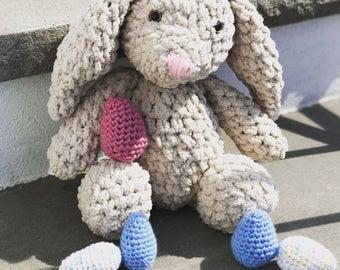 Crochet Fleece Bunny Rabbit with Easter Egg-Amigurumi