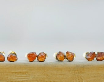 Tiny Studs: minimal earrings, tiny earring posts, rough studs, studs for girlfriend, studs for wife, minimalist raw crystal orange boho