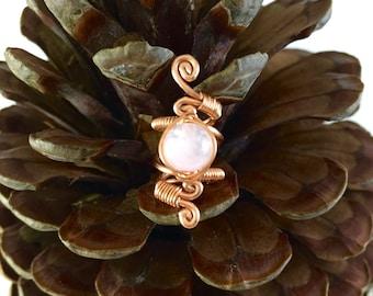 Copper Rose Quartz dreadlock jewelry