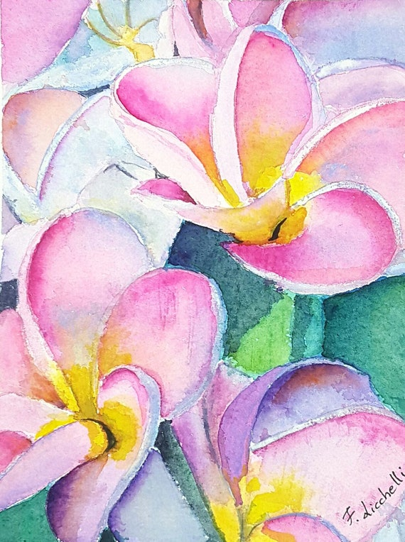 Pink Plumeria, original watercolor, frangipani flower, ooak, baptism gift idea, birth present for girl, wall decoration, nursery art.