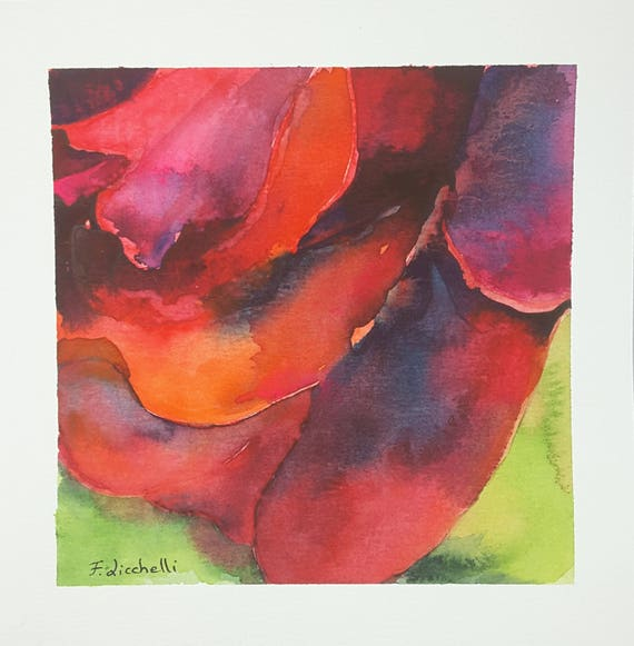 Red rose, original watercolor by Francesca Licchelli. Little painting. One of a kind. Special gift idea for birthday. Living decore.