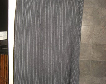 Black Pinstripe Midi Skirt