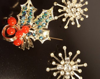 Vintage - Group of Three Festive Holiday Brooches