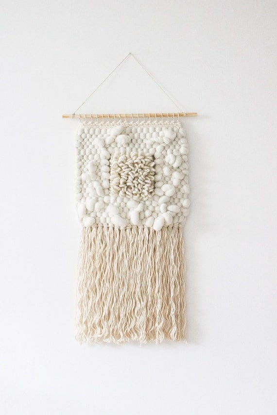 how to start wall hanging woven wool