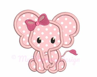 Elephant applique design - Elephant embroidery - Baby embroidery - Machine embroidery file - pes hus jef vip vp3 xxx dst exp - 3 sizes