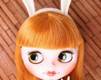 A046 Ivory White Cute Bunny Ear Headband For Blythe 1/4 1/6 1/8 BJD Barbie Momoko PP FR Doll Hair Accessories