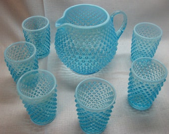 Fenton Blue Opalescent squat pitcher and 6 juice tumblers - unmarked