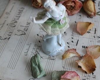 Statuette dancer porcelain from Limoges France, tutu green, 1960s, PS150097, gift MOM, Grandma gift