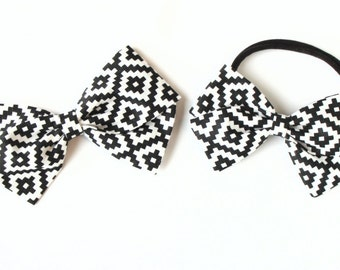 Baby girl, toddler, fabric bow, nylon headband or clip- Navajo Print