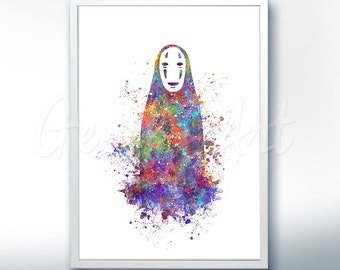 Spirited Away Print, No Face Studio Ghibli Watercolor Poster Print - Watercolor Painting,Watercolor Art ,Kids Decor, Nursery Decor