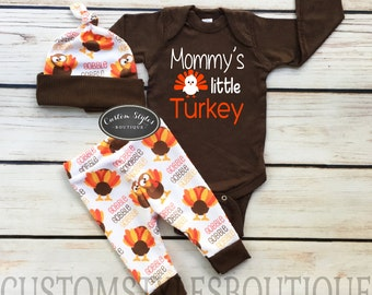 Baby Boys First Thanksgiving Outfit, Brown Infant Bodysuit, Leggings And Hat With Turkeys, Baby Boy's Thanksgiving Outfit Set