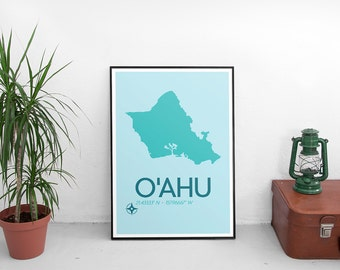O'ahu Poster Print - O'ahu Hawaii Art Print, Minimalist Travel Poster, Hawaii Poster, Map Of O'ahu, Modern Art Print, Map Poster, Wall Art