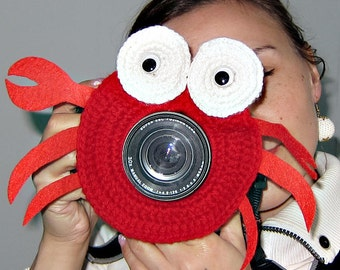 Camera Lens Toy,Crochet crab,camera buddies,camera lens buddy,photo helper,Children's Photo Props,Photographer gift,Camera lens accessory