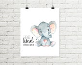 Be Kind Little One Printable Wall Art, Baby Elephant Nursery Print, Safari Jungle Nursery Decor 8 x 10 Grey Pink Instant Digital Download