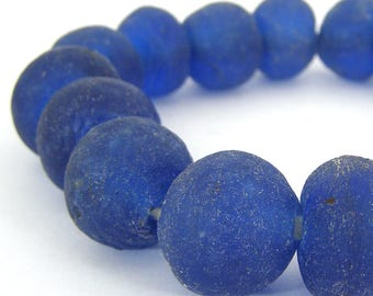 35 Recycled African Trade Glass Beads - Large 22mm Dark Navy Blue Transparent - Sea Glass