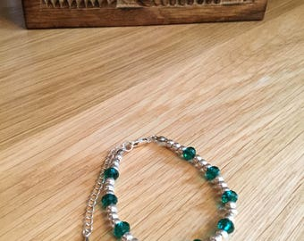 Amici. Silver and emerald green bracelet
