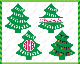Christmas Tree with Bulbs Circle Monogram Split Frames SVG DXF PNG eps xmas Cut Files for Cricut Design, Silhouette studio, Digital download