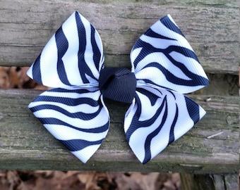 Zebra Print Hair bow (3.5 inch)