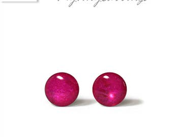 Magenta Stud  Earrings 6 mm, 4 mm, 3 mm  Round Tiny Magenta Color Epoxy Resin Mini Gift for Her - Gold Plated Stainless Steel Posts 107