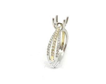 Ladies Two-Tone Triple Shank Engagement Ring Mounting