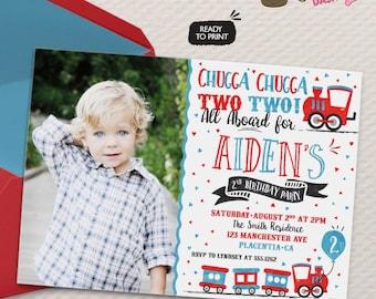 Chugga Chugga Choo choo Train Birthday Party Photo invitations two two Birthday Party printable invitations  Watercolors birthday invitation