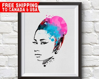 Nicki minaj Print,Nicki minaj Poster, Nicki minaj Art, Home Decor, Gift Idea, Free shipping to canada & usa