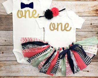 Navy Coral Mint and Gold Twin First Birthday Outfits, Twins First Birthday Outfit, Boy/Girl Twins Birthday Outfits