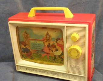 Vintage Fisher Price Two Tune TV, Wind up Tv Toy Plays Row Row Row Your Boat & London Bridge
