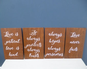 Aisle Sign,Love is Patient,Love Verse,1 Corinthians 13 ,Wooden sign,Rustic Wooden Sign,Hand painted,Marriage sign,Set Of 4