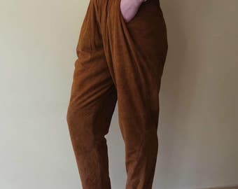 Women's Leather Trousers, Brown Suede Trousers, Brown Larther Pants, 1980s, Size 38 EU, Made in Italy