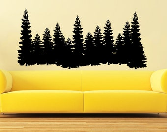 Pine Trees Wall Decal Forest Landscape Nature Vinyl Sticker Decals Home  Decor Bedroom Art Design Merry Part 41