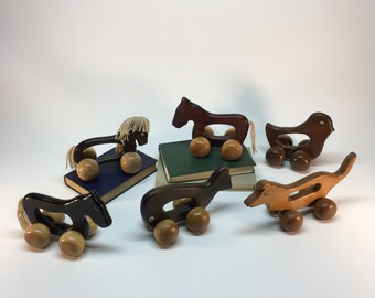 Vintage wooden animal toys