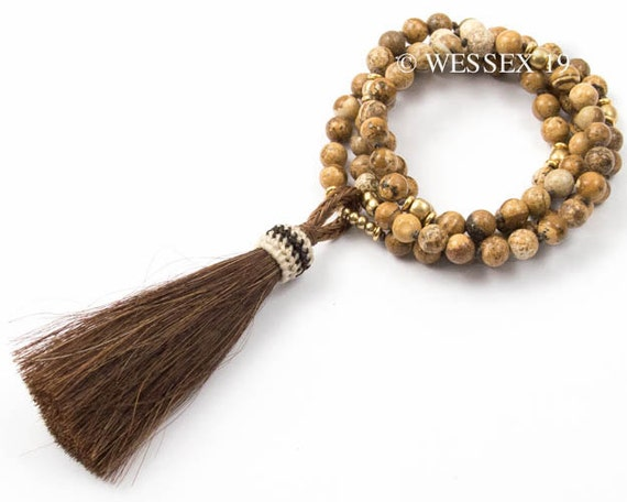 Brown Horse Hair Tassel Necklace Picture Jasper Necklace
