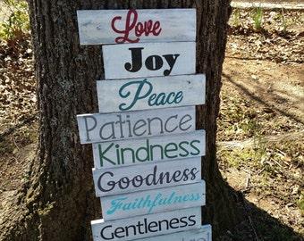 Fruit of the Spirit Wood Sign~ Love Joy Peace~ Pallet Wood Sign~ Christian Wood Sign~ Verse Wood Sign~ Reclaimed Wood ~Galatians 5:22-23