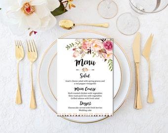Printable Boho Wedding Menu, Floral Boho Wedding Menu, Bohemian Menu, Boho Bridal Shower Menu, Peonies Printable Menu, Download 109-W