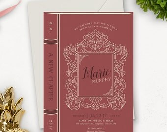 Story Book Bridal Shower Invitation Printable / Library Wedding / Book Themed Wedding / Vintage Rustic Printable Wedding Invitation Download