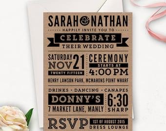 Subway Art Wedding Invitation Printable / Rustic Modern Wedding Invitation Template / Word Art Wedding Invites