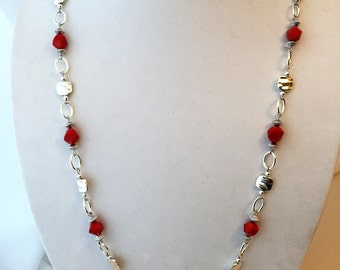 Bright Red and Silver Necklace