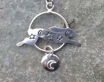 Magical Hare pendant - sterling silver