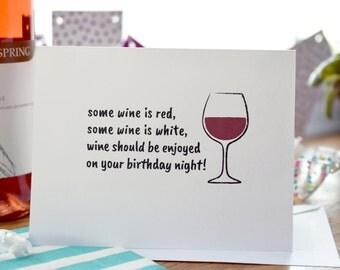 Birthday Card Wine Lover Happy Birthday Wine Card Birthday Card