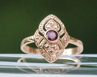 Garnet ring - rose gold ring - vintage gold ring - Garnet gold ring - solid gold ring - Garnet stone - vintage ring - 14k ring - red Garnet
