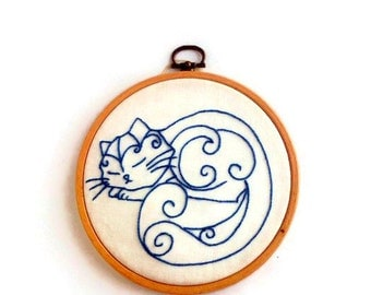 Cat lover gift|for|daughter Sleeping cat embroidery hoop art Cat lady gift|for|her wall decor Mother day gift for granny Blue nursery decor