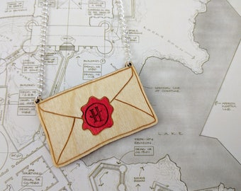 Harry Potter, Hogwarts Letter Necklace - Laser Cut Solid Wood/Acrylic Jewellery.