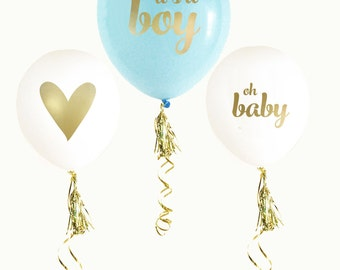 Blue & Gold BABY SHOWER Balloons (set of 3) | it's a boy | gender reveal | photo prop | gender announcement | maternity photo shoot |