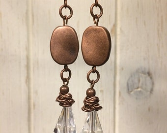 Copper and Crystal Drop Earrings
