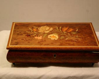Burl Wood Music Box Jewelry Box Inlaid Flowers