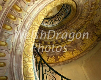 Austria Photograph, Spiral Staircase, Melk Abbey, Digital Photography Download, Travel Photography, Golden Staircase, Pattern Photograph