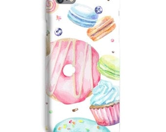 Macaroon iPhone Case, Donuts iphone case, White iphone 6 case, Macaroon iphone 6 case, Pink iphone 6s case, Candy iphone case