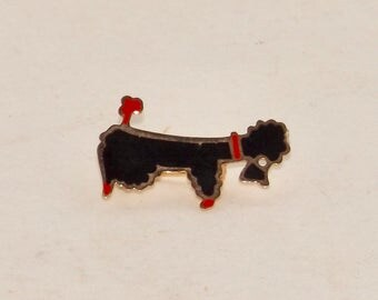 "Black french poodle brooch,vintage animal jewelry,poodle pin,red bow,gold tone pin,1"" dog pin,costume jewelry,animal pin"